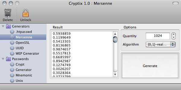 Cryptix Mersenne generator